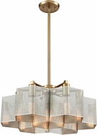 ELK 21113-7 Compartir Contemporary Polished Nickel / Satin Brass 20  Drop Ceiling Light Fixture