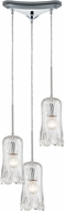 ELK 21165-3 Hand Formed Glass Contemporary Polished Chrome Multi Hanging Pendant Light