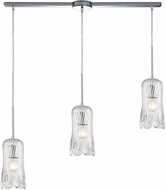 ELK 21165-3L Hand Formed Glass Modern Polished Chrome Multi Pendant Hanging Light