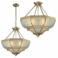 ELK 22007-4 French Damask Traditional Brushed Brass Ceiling Light / Hanging Pendant Lighting