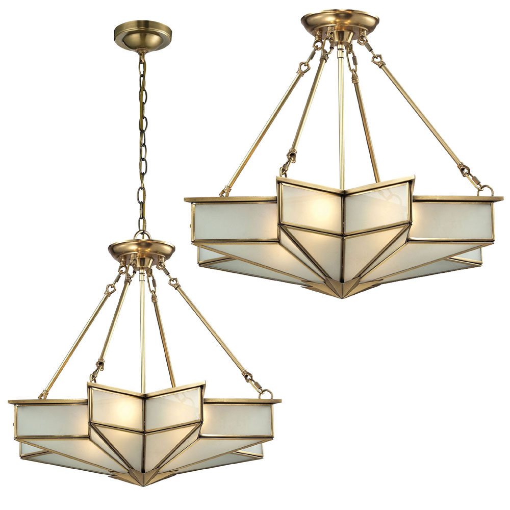 ELK 22012-4 Decostar Modern Brushed Brass Ceiling Lighting Fixture ...