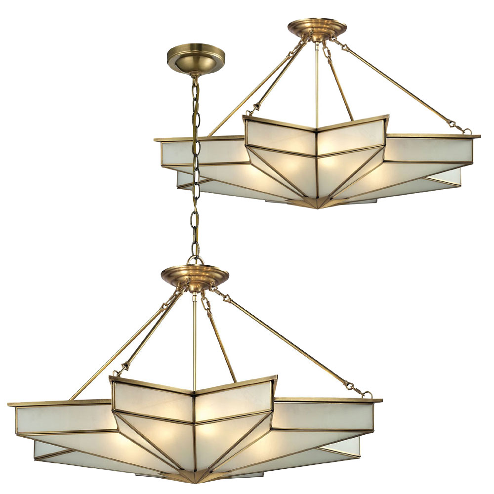 Hanging Light Fixture: ELK 22013-8 Decostar Contemporary Brushed Brass Ceiling