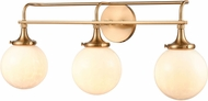 ELK 30143-3 Beverly Hills Modern Satin Brass 3-Light Bathroom Wall Light Fixture