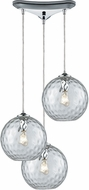 ELK 31380-3CLR Watersphere Modern Polished Chrome Multi Hanging Pendant Light