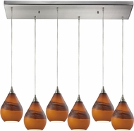 ELK 31617-6RC Dunes Modern Satin Nickel Multi Hanging Pendant Light