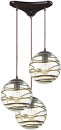 ELK 31753-3 Vines Contemporary Oil Rubbed Bronze Multi Pendant Light