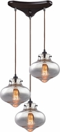 ELK 31955-3 Kelsey Contemporary Oil Rubbed Bronze Multi Pendant Lamp