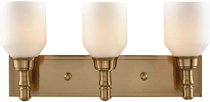Elk 32262 3 Baxter Satin Brass Light Bathroom Wall Fixture Loading Zoom