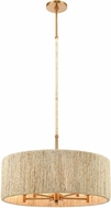 ELK 32412-5 Abaca Satin Brass Drum Hanging Light Fixture