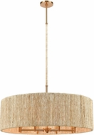 ELK 32413-8 Abaca Satin Brass Drum Drop Lighting