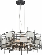 ELK 33146-8 Spanish Alabaster Modern Dark Graphite 32  Drum Ceiling Pendant Light