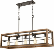 ELK 33316-5 Warehouse Window Modern Oil Rubbed Bronze / Medium Oak Kitchen Island Light
