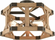 ELK 33321-3 Structure Contemporary Oil Rubbed Bronze / Natural Wood Flush Ceiling Light Fixture