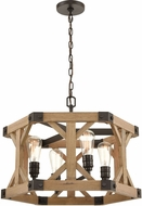 ELK 33322-4 Structure Contemporary Oil Rubbed Bronze / Natural Wood Pendant Hanging Light