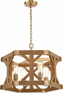ELK 33323-4 Structure Modern Satin Brass / Medium Oak Hanging Light Fixture
