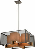 ELK 33345-4 Crossbeam Contemporary Oil Rubbed Bronze / Medium Oak Drop Ceiling Lighting