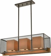 ELK 33346-3 Crossbeam Modern Oil Rubbed Bronze / Medium Oak Island Lighting