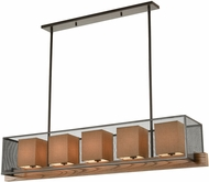 ELK 33347-5 Crossbeam Contemporary Oil Rubbed Bronze / Medium Oak Kitchen Island Lighting