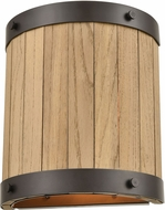 ELK 33360-2 Wooden Barrel Rustic Oil Rubbed Bronze / Natural Wood Lamp Sconce