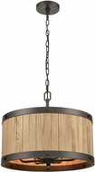 ELK 33364-6 Wooden Barrel Rustic Oil Rubbed Bronze / Natural Wood 19  Drum Ceiling Light Pendant