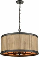 ELK 33366-6 Wooden Barrel Rustic Oil Rubbed Bronze / Natural Wood 25  Drum Ceiling Pendant Light