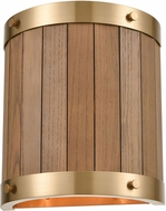 ELK 33370-2 Wooden Barrel Country Satin Brass / Medium Oak Wall Sconce Lighting