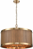 ELK 33376-6 Wooden Barrel Country Satin Brass / Medium Oak 25  Drum Drop Lighting Fixture