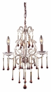 ELK 4011/3AMB Opulence Small 3 Candle Rust Finish Amber Crystal Chandelier Light