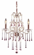 ELK 4011/3RS Opulence Rose Crystal 17 Inch Diameter 3 Candle Chandelier With Rust Finish