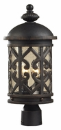 ELK 42064/2 Tuscany Coast 20 Inch Tall Weathered Charcoal Finish Clear Seeded Glass Outdoor Post Lamp