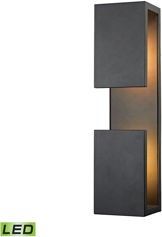 Elk 45232 Led Pierre Contemporary Textured Matte Black Outdoor Wall Light Fixture Loading Zoom