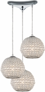 ELK 45256-3 Crystal Ring Polished Chrome Multi Hanging Light