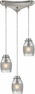 ELK 46161-3 Carved Glass Contemporary Brushed Nickel Halogen Multi Pendant Lighting