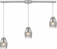 ELK 46161-3L Carved Glass Modern Brushed Nickel Halogen Multi Pendant Light
