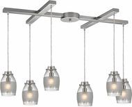 ELK 46161-6 Carved Glass Contemporary Brushed Nickel Halogen Multi Lighting Pendant