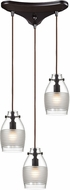 ELK 46162-3 Carved Glass Modern Oil Rubbed Bronze Halogen Multi Hanging Light