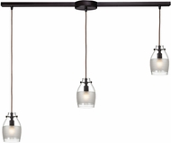 ELK 46162-3L Carved Glass Contemporary Oil Rubbed Bronze Halogen Multi Pendant Light Fixture