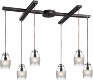 ELK 46162-6 Carved Glass Modern Oil Rubbed Bronze Halogen Multi Pendant Lighting Fixture