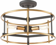ELK 46651-3 Millington Contemporary Charcoal / Brushed Brass Flush Mount Lighting Fixture