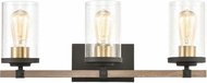 ELK 47283-3 Geringer Contemporary Charcoal / Beechwood / Burnished Brass 3-Light Vanity Lighting