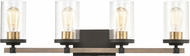 ELK 47284-4 Geringer Contemporary Charcoal / Beechwood / Burnished Brass 4-Light Vanity Light