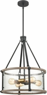 ELK 47288-4 Geringer Modern Charcoal / Beechwood / Burnished Brass Drop Lighting