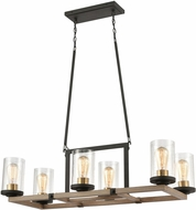 ELK 47290-6 Geringer Contemporary Charcoal / Beechwood / Burnished Brass Island Lighting