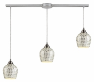 ELK 528-3L-SLV Fusion 36 Inch Wide Linear Bar Silver Mosaic Hanging Light Fixture - 3 Lamp