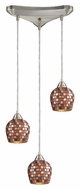 ELK 528-3MLT Fusion Multi Mosaic 3 Lamp 10 Inch Diameter Hanging Light