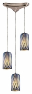 ELK 544-3MO Molten 10 Inch Diameter 3 Light Multi Pendant Lighting In Ocean Glass