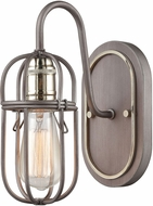ELK 55061-1 Industrial Cage Contemporary Weathered Zinc / Polished Nickel Wall Lighting