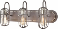 ELK 55063-3 Industrial Cage Contemporary Weathered Zinc / Polished Nickel 3-Light Bath Sconce