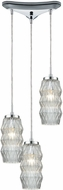 ELK 56650-3 Zigzag Modern Polished Chrome Multi Ceiling Pendant Light