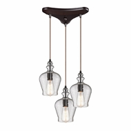 ELK 60066-3 Menlow Park Contemporary Oil Rubbed Bronze Multi Pendant Lighting Fixture